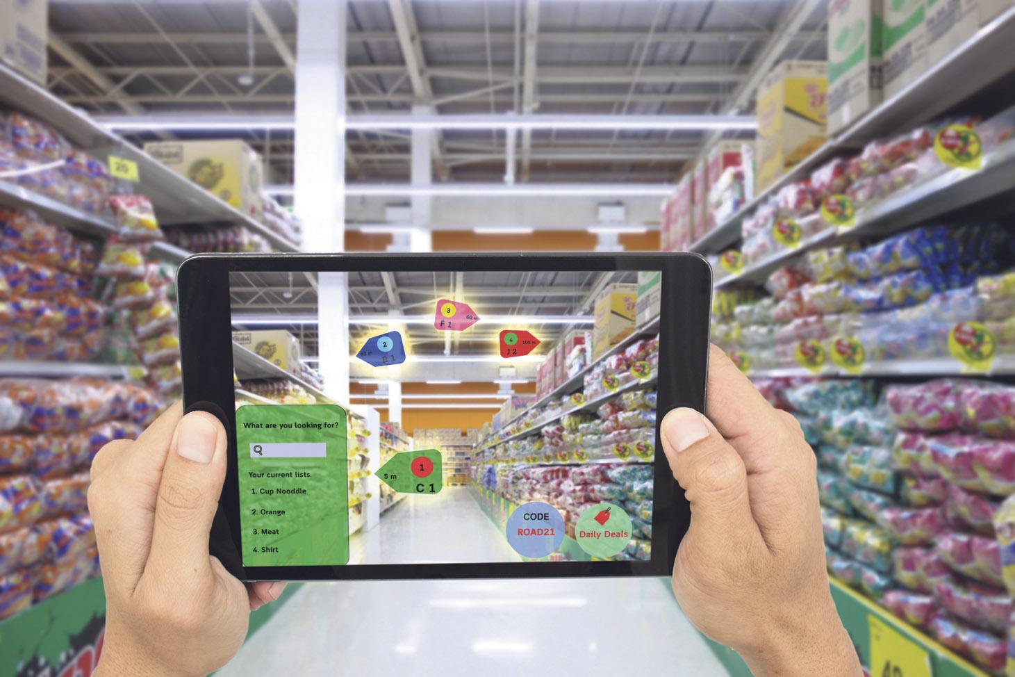 Virtual Reality im Supermarkt: Über die Kamera werden verschiedene Angebote angezeigt.