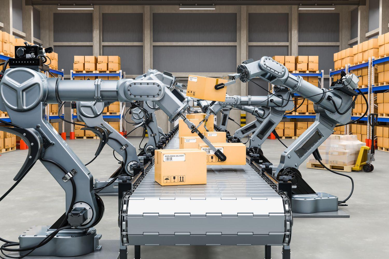 Hochspezialisierte Roboter verschließen und frankieren Pakete. Thema: KI-Systeme