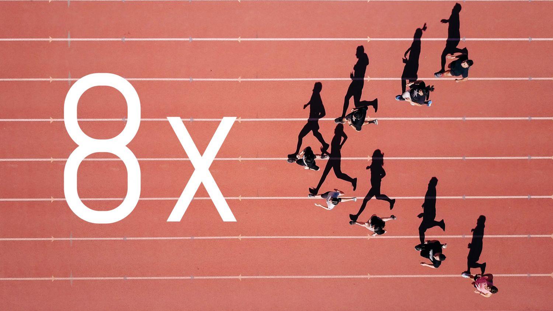 Läufer laufen um die Wette. Thema: Warenkorb-Abbruch